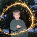 boy with a sparkler