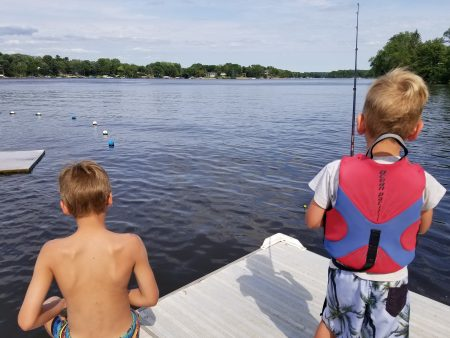DeRose boys fishing off the dock